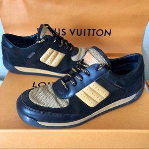 Louis Vuitton Brown /Yellow LV Logo Sneakers Shoes